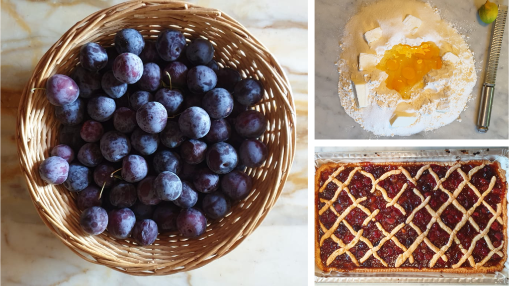 3 photos: basket of fresh plums, well of flour with butter and eggs on marble counter, and finished dessert.