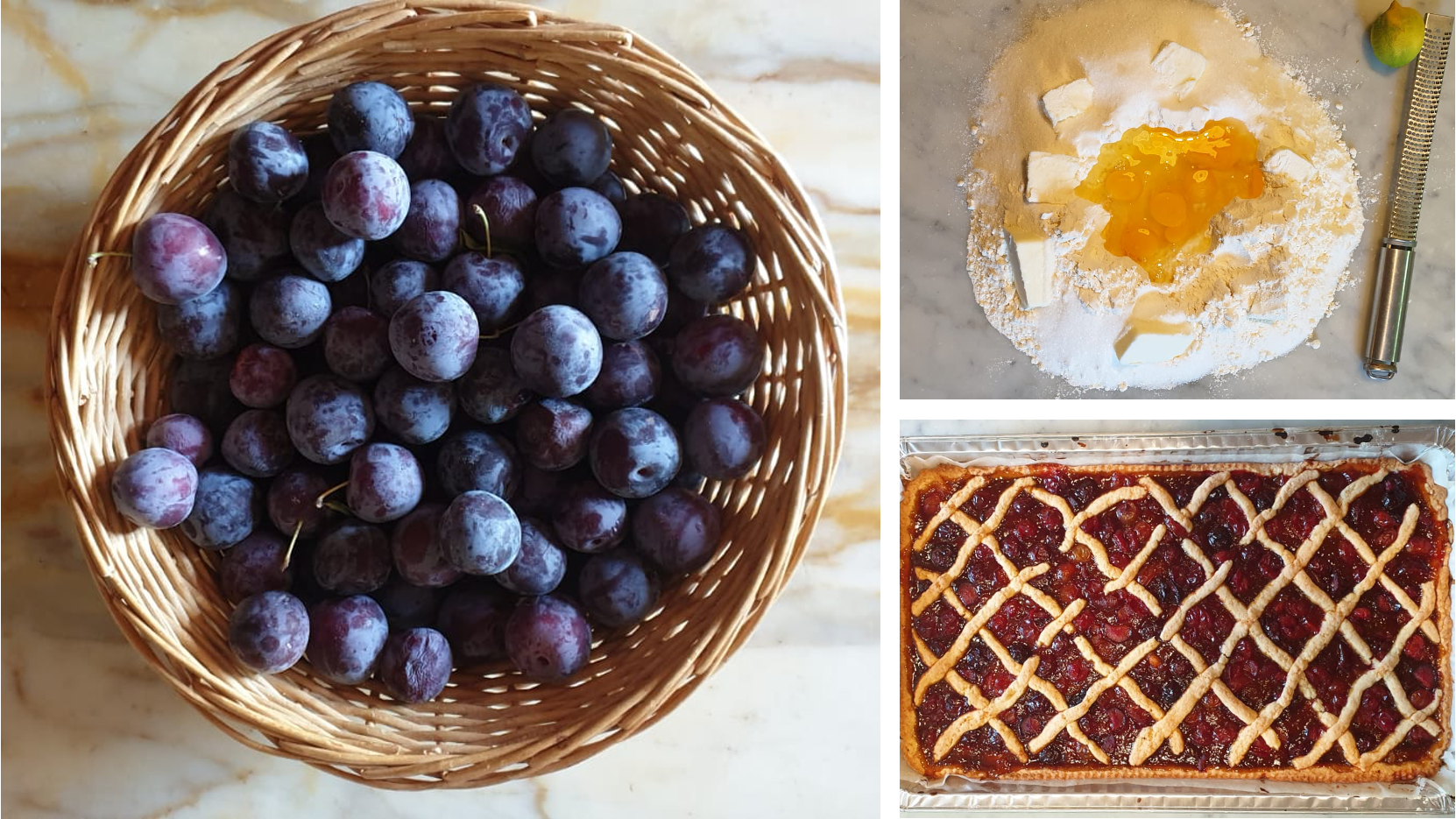 Three photos: Basket of plums; pile of flour, butter and eggs on marble counter; finished plum cake with lattice top