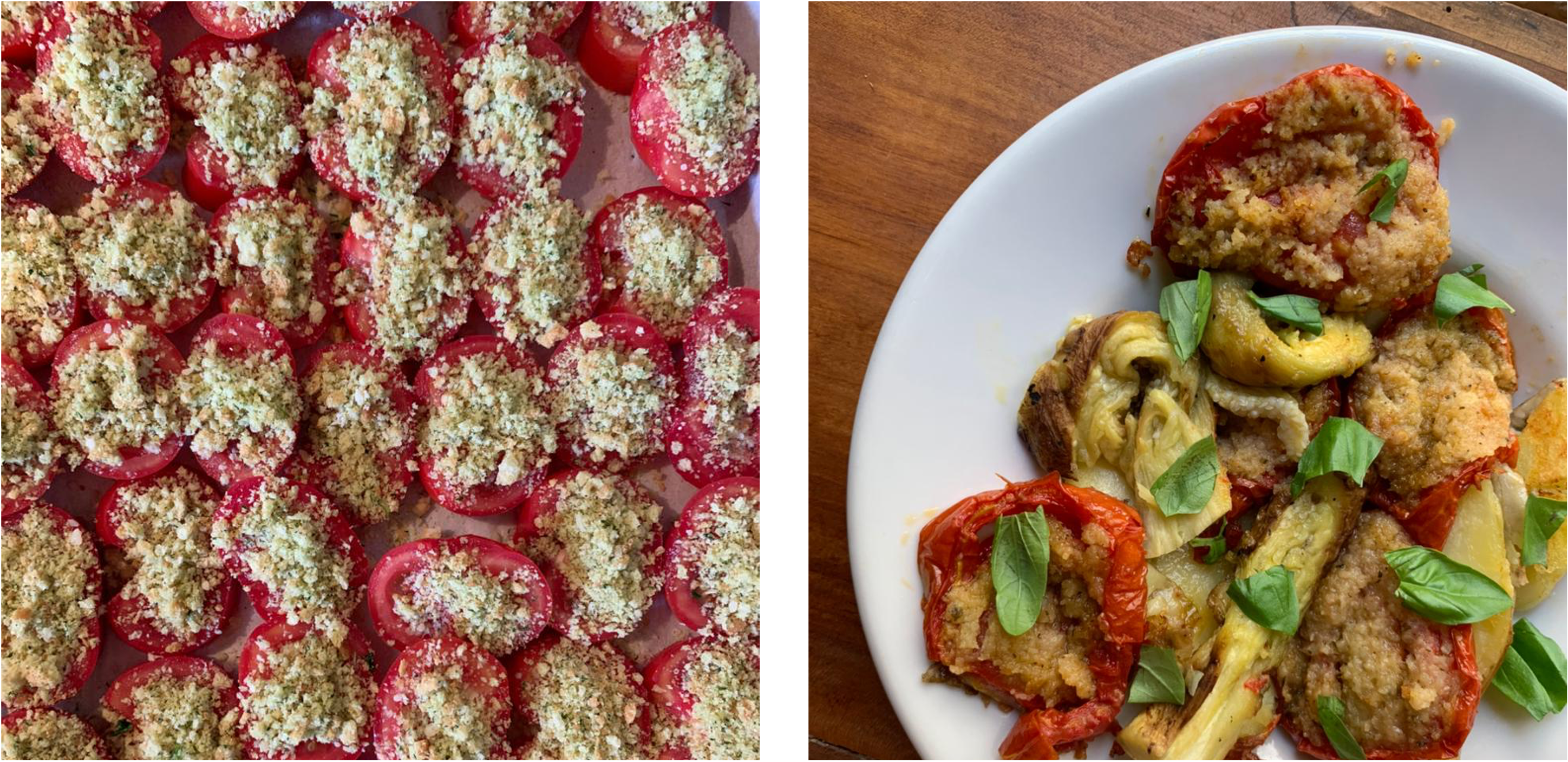 Left: slides tomatoes covered in topping, on a baking sheet; Right: finished dish on a white plate